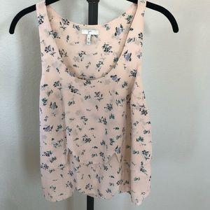 💐JOIE💐Peach Floral 100% Silk Tank Size XS EUC!